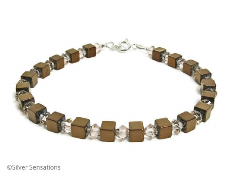 Bronzed Hematite Cube Beads Unisex Sterling Silver Bracelet With Peach Crystals